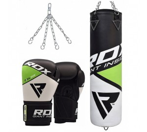 RDX F11 Filled Black & White Punch Bag & Boxing Gloves