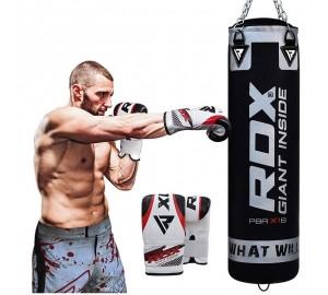 RDX X1 Filled Black Punch Bag & Bag Gloves