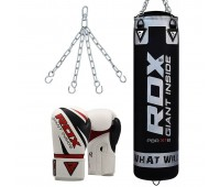RDX X1 Filled Black Punch Bag & Boxing Gloves