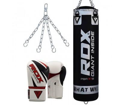 RDX X1 Filled Black Punch Bag & Boxing Gloves