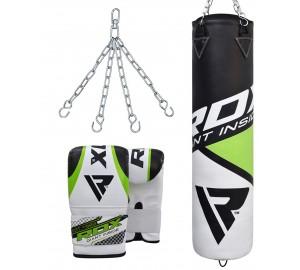 RDX F11 Filled Black & White Punch Bag & Bag Gloves