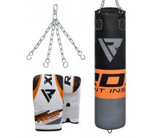RDX F12 Filled Orange Punch Bag & Bag Gloves