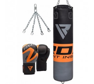 RDX F12 Filled Orange Punch Bag & Boxing Gloves
