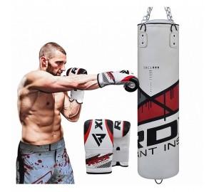 RDX F7 Filled Ego Red Punch Bag & Bag Gloves