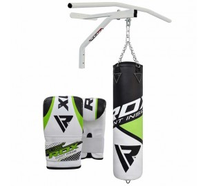RDX 5ft Punch Bag Gloves Chin Pull UP Bar Chains