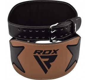 RDX 6 Inch Brown Leather Fitness Weightlifting Belt