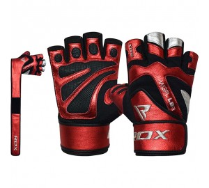 RDX L8 Red Gym Gloves with Wrist Support