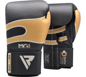 Black & Golden 16oz Bazooka Boxing Gloves
